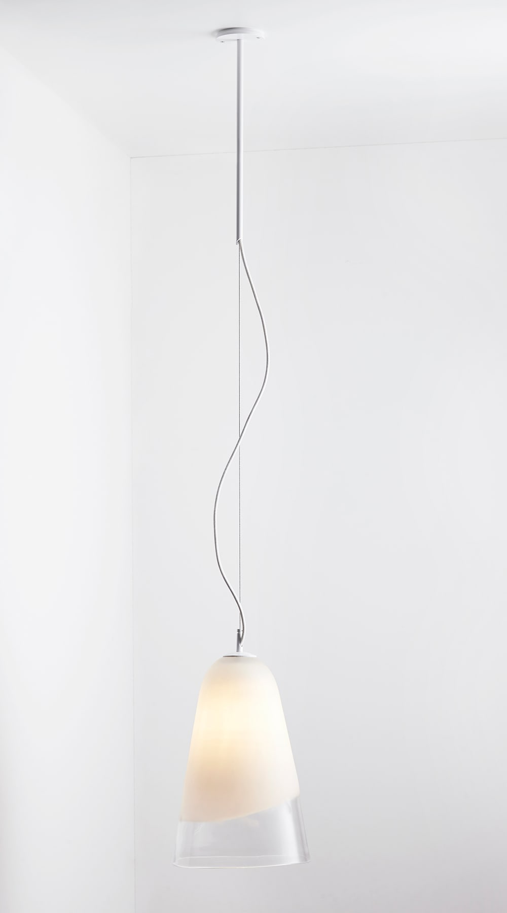 Domi pendant clear and white frost articolo subtle timeless and uniquely individual the superb mouth blown domi collection is crafted by the hands of skilled artisans domi features an elongated aloadofball Gallery